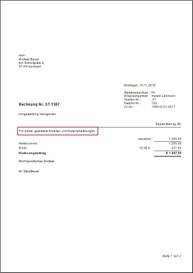 Pauschalrechnung Dataflor